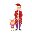merry christmas father and daughter warm clothes vector image vector image
