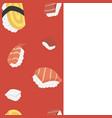 nagiri sushi seamless pattern set vector image vector image