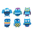 owls cute birds character set isolated on vector image vector image