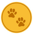 paw footprints gold coin vector image