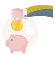 People save their money on the piggy bank vector image vector image