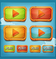 play buttons and icons for game ui vector image vector image