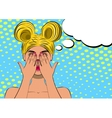 Pop art scared blond woman face vector image vector image