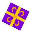 purple gift box icon flat style vector image
