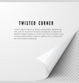 realistic paper sheet with folded corner paper vector image vector image