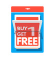 red buy1 get1 free blue background image vector image vector image