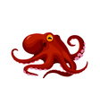 red cartoon isolated octopus vector image vector image