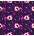 Seamless pattern with cute cartoon girl fish vector image vector image