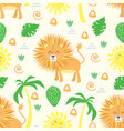 seamless pattern with lion in scandinavian style vector image vector image
