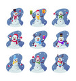 set cartoon snowmen funny winter characters wear vector image