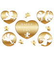 set of 3d relief cupid icons for valentines day vector image