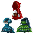 set of three ancient dresses with hood vector image vector image