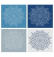 Set of vintage snowflake on blue background vector image vector image