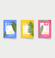 set posters with palm leaves off card vector image
