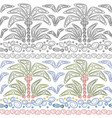 set seamless patterns with palms and waves vector image vector image
