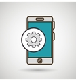 smartphone blue and gear isolated icon design vector image vector image