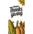 thanksgiving day poster with leaves pumpkin and vector image