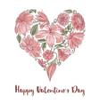 Valentine Day floral heart shape vector image vector image