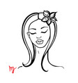 virgo zodiac beautiful fashion girl vector image