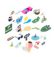 way to the beach icons set isometric style vector image vector image
