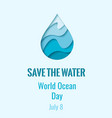 world ocean day - waterdrop banner vector image