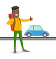 young black man trying to stop a taxi vector image