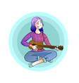 young girl playing guitar and singing vector image
