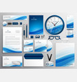 blue business stationery set for your brand vector image