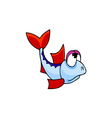 fish with red fins cartoon vector image