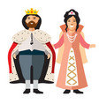 king and princess flat style colorful vector image