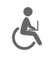 Disability man with notebook pictogram flat icon vector image