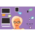 Blond woman thinking about gadgets and vector image