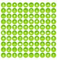 100 park icons set green circle vector image vector image