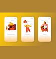amusement park mobile landing page set vector image vector image