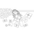 beautiful girl with a gift vector image vector image