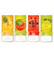 big set of labels with fruit in juice splash vector image vector image