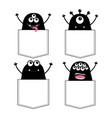 black monster silhouette set in pocket hands vector image vector image