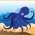 blue octopus on the background of sand and water vector image