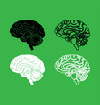 brain icon black and white color set vector image vector image