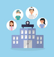 building hospital doctors physician staff vector image