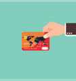 businessman hand holding credit card vector image vector image