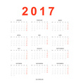 Calendar 2017 simple template for printing in vector image
