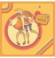 card with dancing girls in retro style vector image vector image