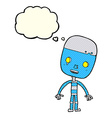 cartoon sad robot with thought bubble vector image