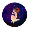 cartoon style young woman flying in space vector image