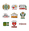 casino template with colorful logo labels vector image vector image