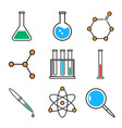 chemistry icons set collection outline symbols vector image