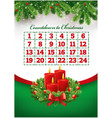 christmas advent calendar with wreath and candles vector image vector image