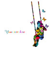 colorful silhouette of a girl sitting on a swing vector image vector image