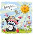 cute cartoon panda on the meadow vector image vector image